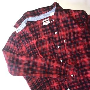 Levi's | Red and Black Plaid Boyfriend Flannel S